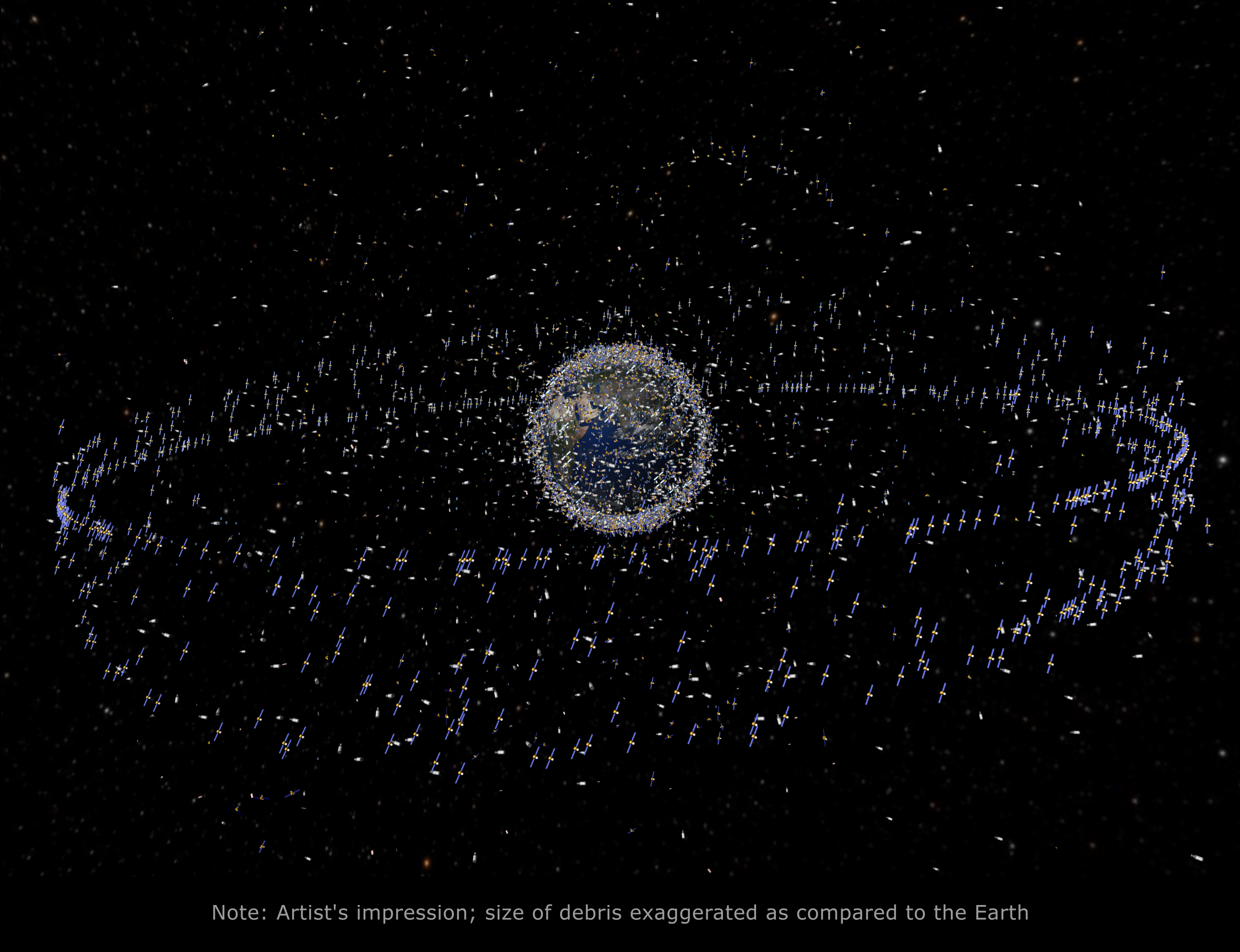 Trackable objects in orbit around Earth.  Courtesy European Space Agency. (Click to embiggen.)