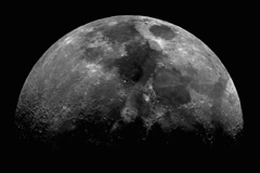 This lunar image courtesy Daniel Bramich and Aditya Tayal, Isaac Newton Group of Telescopes, La Palma, Spain More information can be found here. For a picture of what the Moon looks like today, visit the U.S. Naval Observatory website.