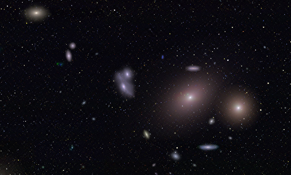 Markarians Chain, a string of galaxies in the heart of the Virgo Cluster and one of the highlights of the Big Picture. Courtesy the Palomar-Quest Survey Team, California Institute of Technology. (Click to embiggen.)