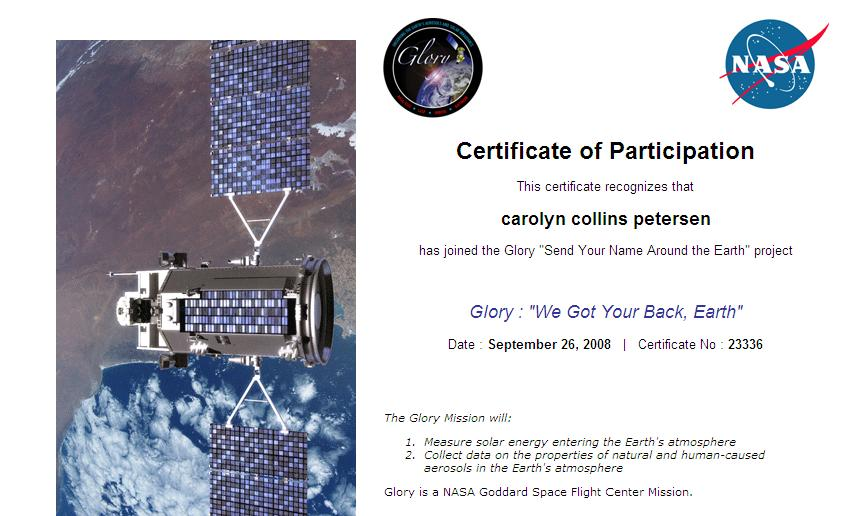 Send your name on Glory and get a certificate like this!