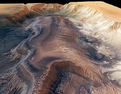 Hebes Chasma perspective view from Mars Express.