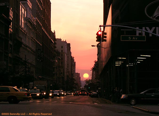 Image of sunset in NYC